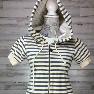 Free People sz S Hooded Striped Knit Sweatshirt